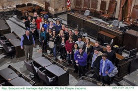 Rep. Seaquist with Heritage High School  We the People students.