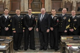Rep. Seaquist with Officers and men of Navy Region Northwest