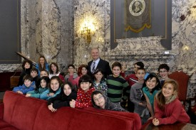 Rep. Carlyle with Jewish Day School students