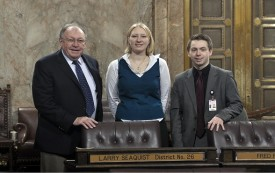 Representative Seaquist with LA Terra Rose and Intern Colin McCann