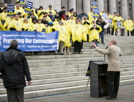Representative Steve Tharinger speaks during the Department of Corrections Day of Action Rally on the capitol steps.