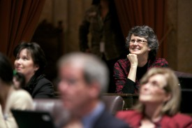 Rep. Eileen Cody watches the roll call vote on the Reproductive Parity Act.