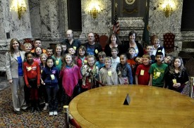 Representative Orwall with Rainier Christian School students