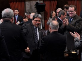 Rep Luis Moscoso is congratulated by his peers on the passage of his first bill - 2011 Session