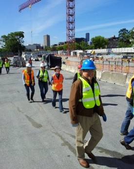 Rep Luis Moscoso touring Broadway and UW Stadium light rail stations under construction - June 2012