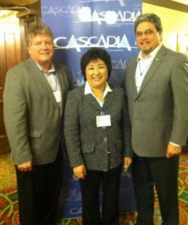 Rep Luis Moscoso with Rep Cindy Ryu and Bruce Agnew, Cascadia Center for Regional Development, 2011