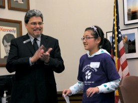 Rep Luis Moscoso with student from Edmonds School District, 2011 Session