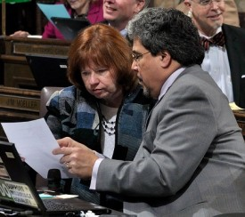 Reps Luis Moscoso and Connie Ladenburg discussing their gang prevention legislation - 2012 Session