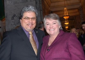 Reps Luis Moscoso and Maureen Walsh after signing of Marriage Equality Act on Feb 14, 2012