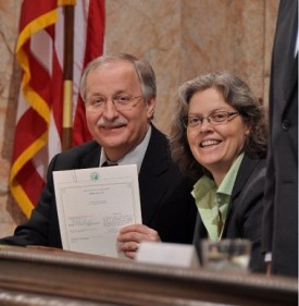 Speaker Chopp with Rep Laurie Jinkins, 2011 Session