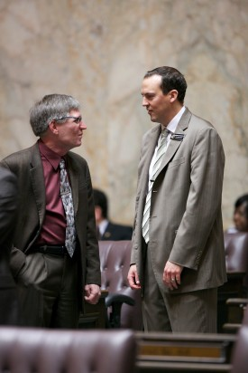 Reps. Timm Ormsby and Marcus Riccelli. House and Senate meet in joint session to canvas the 2012 general election returns, to honor outgoing statewide elected officials Sec. of State Sam Reed, Attorney General Rob McKenna, and State Auditor Brian Sonntag and to receive the State of the State address from Gov. Gregoire.