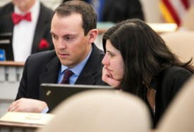Reps. Marcus Riccelli and Jessyn Farrell in committee