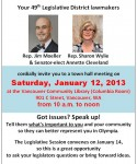 49th District Town Hall THIS Saturday, Jan 12