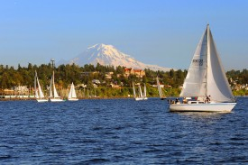 Des Moines Mt Rainier & many sailboats