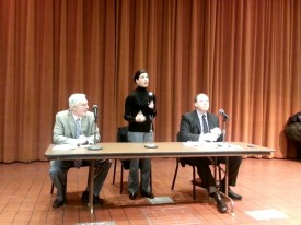 Reps. Jerry Pollet and Jessyn Farrell at a town hall meeting