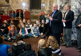 Rep. Van De Wege and Blue Heron Middle School kids