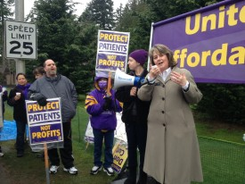 Rep. Gael Tarleton with SEIU 2