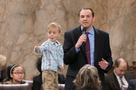 Rep. Marcus Riccelli and family on the House Floor celebrating Children's Day 2013