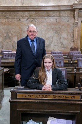 Representative Larry Seaquist and Page Brooklynn Jones Suhyoon Cho
