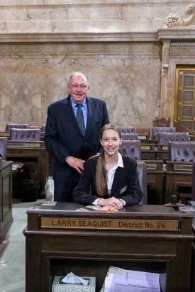 Representative Larry Seaquist and Page Maya Savage Suhyoon Cho