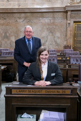 Representative Larry Seaquist and Page Rachel Harper Suhyoon Cho