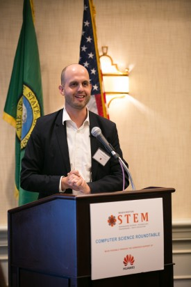 Representative Drew Hansen at the Washington STEM roundtable in October