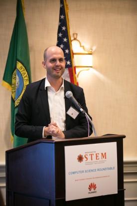 Representative Drew Hansen at the Washington STEM roundtable in October