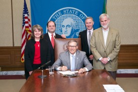 HB 2708 bill signing with Rep. Gael Tarleton and Gov. Inslee