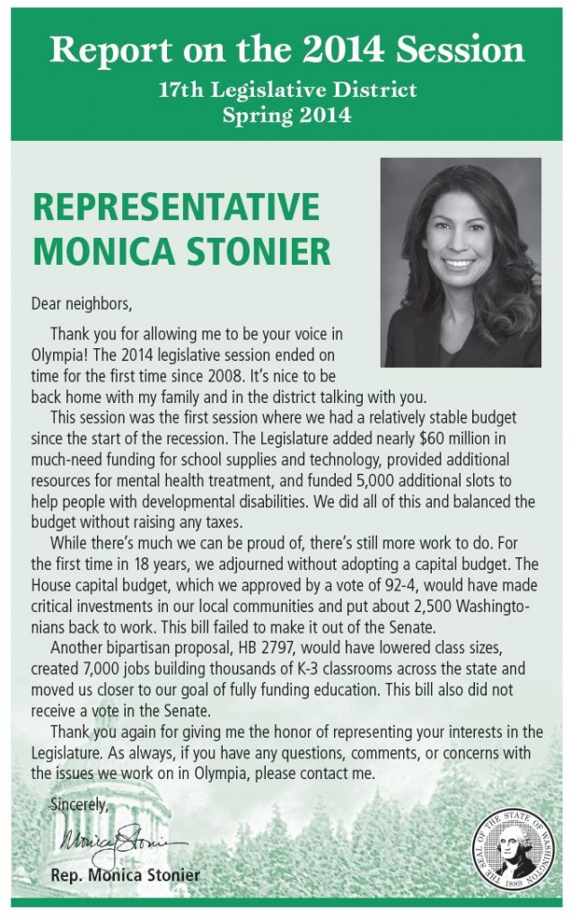 Rep. Monica Stonier 17th District End of Session Report