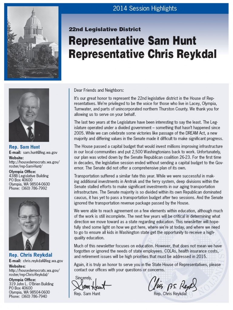Reps. Sam Hunt & Chris Reykdal 2014 legislative update