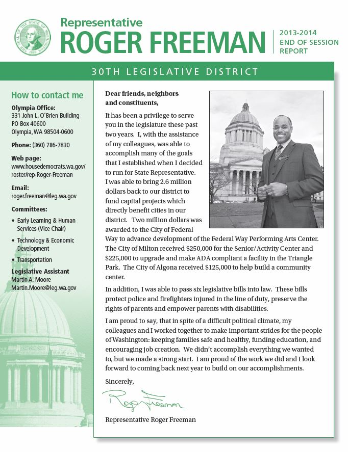 Rep. Freeman 2014 End-of-Session Newsletter
