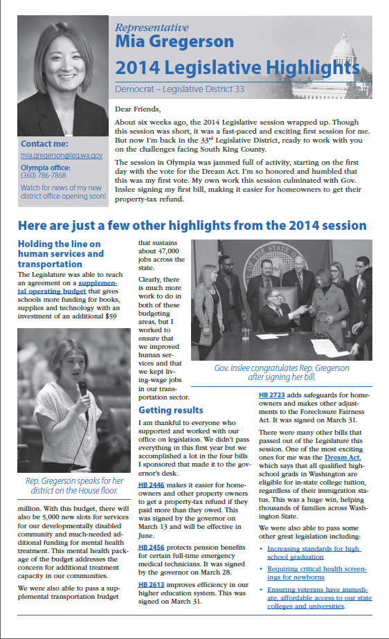 Rep. Mia Gregerson's 2014 end of session newsletter
