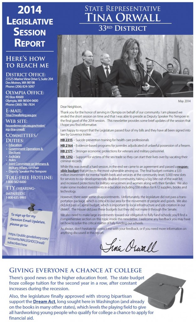 Rep. Tina Orwall 2014 newsletter