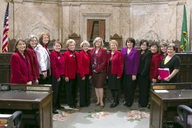 Female legislators dressed up for heart health day