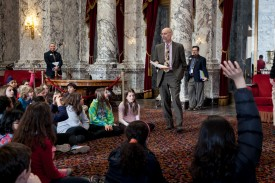 Rep. Springer talking with elementary school students from the 45th District