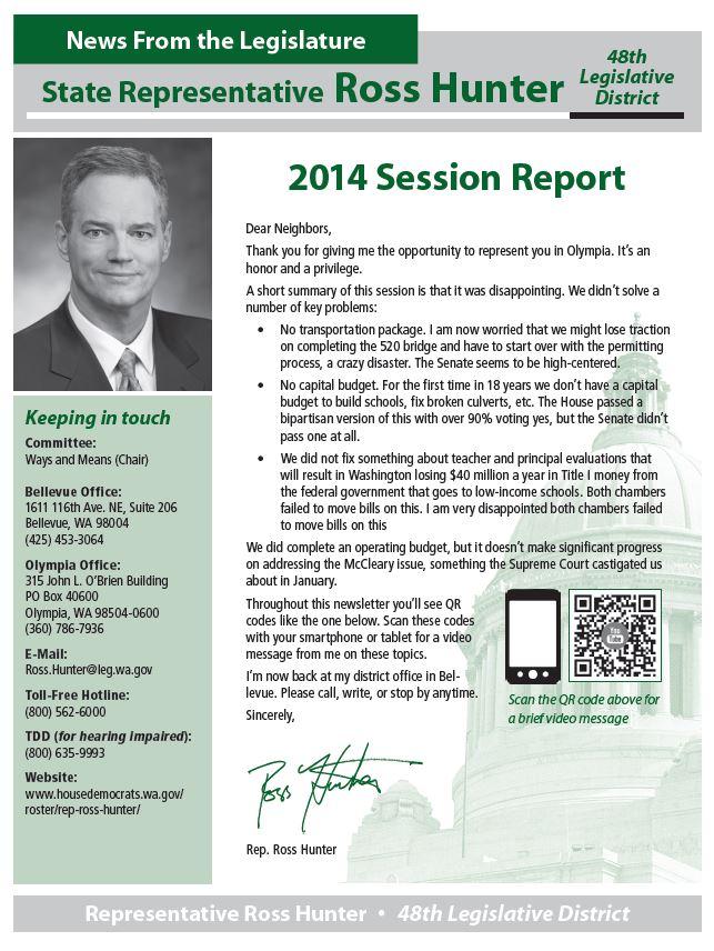 Rep. Ross Hunter's 2014 end of session newsletter