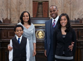 Representative Roger Freeman and family on House Floor
