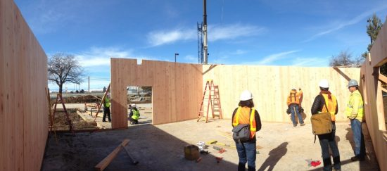 The House capital budget would put a record $1 billion into school construction. Here, workers use Cross-Laminated Timber (CLT) to build classrooms at Adams Elementary. Photo courtesy of Susan Jones.