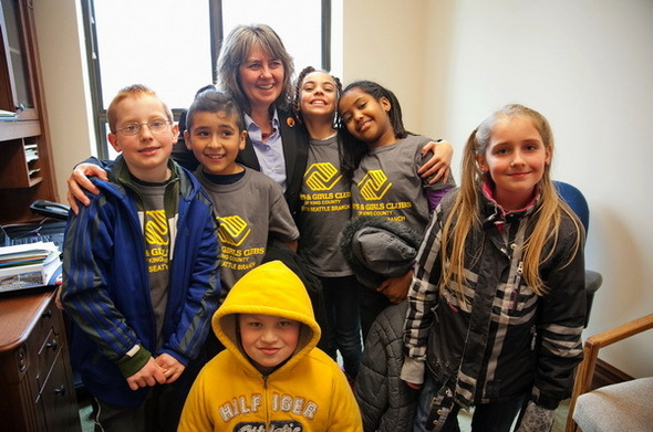 North Seattle Boys and Girls Club visiting me on Martin Luther King Jr., Day.