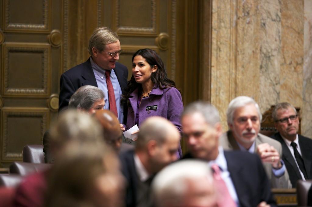 Rep. Stonier and Rep. Steve Tharinger on the House floor.