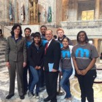 Rep. Christine Kilduff (D-University Place) with members of the Boys and Girls Club in the state capitol dome.