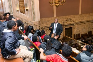 Rep. Pettigrew with students, January 18th, 2016