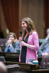 The Washington State House of Representatives convenes for floor session to debate House Bill 1356, regarding sick and safe employment leave, March 3, 2015, the 51st day of the legislative session.