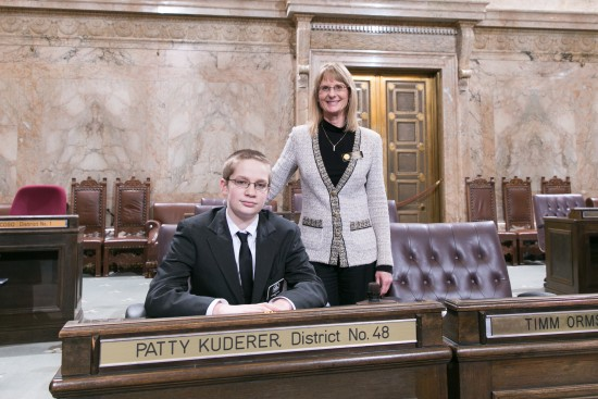 Rep. Kuderer with page Reeve Boyer