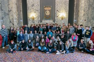 Rep. Tharinger with students from the Blue Heron Middle School in Port Townsend.