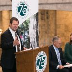 Rep. Brian Blake at the 75th Anniversary of Sustainable Forestry in Washington State is held in the capitol rotunda, Jan. 21, 2016.