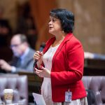 Rep. Lillian Ortiz-Self discussing legislation on the House Floor.