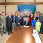 Rep. Tina Orwall at the Bill Signing ceremony of HB 1213, Veterans Assistance Fund on Mar 31, 2016