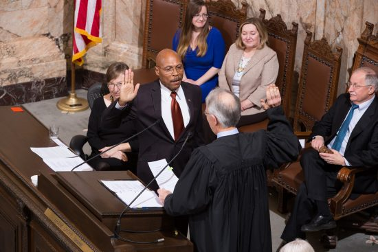 Rep. John Lovick (D-Mill Creek) taking the oath of office after being elected by the House of Representatives to the position of Deputy Speaker Pro Tempore.