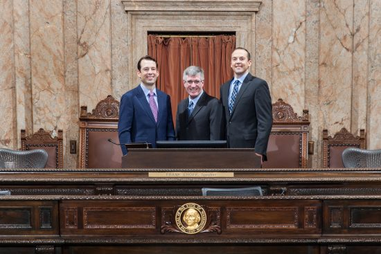 Photo of 3rd LD legislators at the rostrum in the House of Representatives